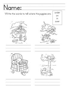 Basic Sight Words: under, on, in, over Worksheet