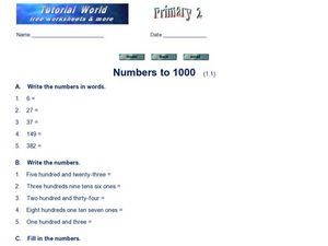 Numbers to 1000 Worksheet