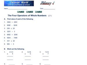 The Four Operators of Whole Numbers Worksheet