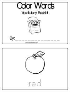 Color Words; Vocabulary Booklet Worksheet