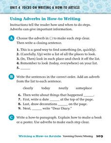 Using Adverbs in How - ;to Writing Worksheet
