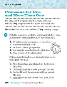 Pronouns for One and More Than One Worksheet
