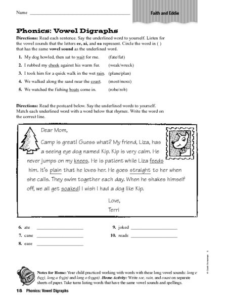 Vowel digraphs worksheets for grade 3