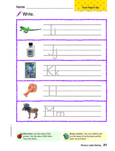 Writing: Ii, Jj, Kk, Ll, Mm Worksheet