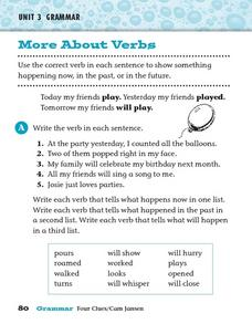 More About Verbs: Tenses Worksheet