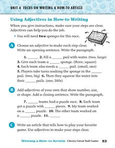 Using Adjectives in How-to Writing Worksheet