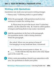 Writing With Quotations Worksheet