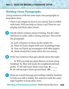 Writing Clear Paragraphs Worksheet
