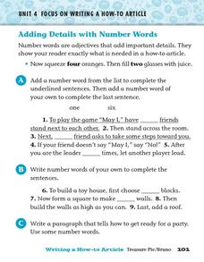 Adding Details with Number Words Worksheet