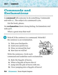 Commands and Exclamations 40 Worksheet