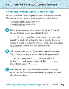 Showing Ownership in Descriptions Worksheet