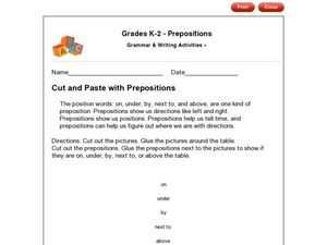 Grades K-2 - Prepositions Cut and Paste with Prepositions Worksheet