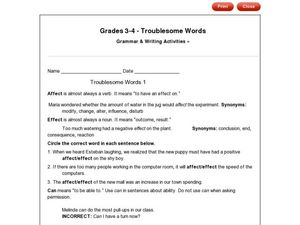 Troublesome Words 1-4 (Grade 3) Worksheet