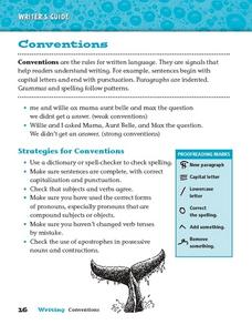Conventions For Written Language Worksheet