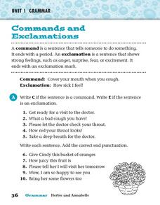 Commands and Explanations Worksheet