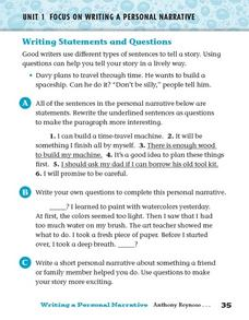 Writing Statements and Questions Worksheet