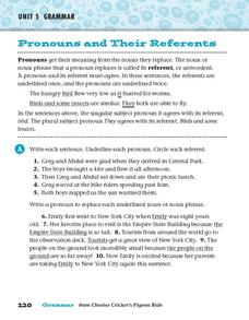Pronouns and Their Referents Worksheet