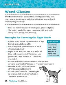 Word Choice: Exact Words Worksheet