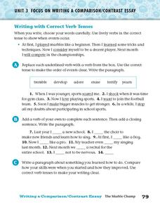 Writing with Correct Verb Tenses Worksheet
