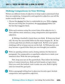 Making Comparisons in Your Writing Worksheet