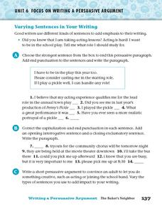 Varying Sentences in Your Writing Worksheet