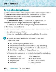 Proper and Common Nouns Worksheets | Capitalizing and Re-Writing ...