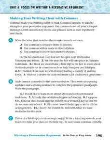 Making Your Writing Clear with Commas Worksheet
