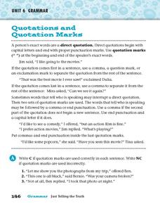 Quotations and Quotations Marks Worksheet