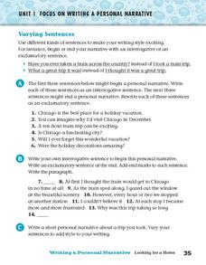 Varying Sentences Worksheet
