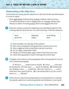 Elaborating with Adjectives Worksheet