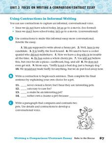 Using Contractions in Informal Writing Worksheet