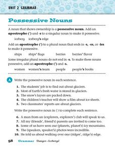 Unit 2 Grammar - Possessive Nouns Worksheet