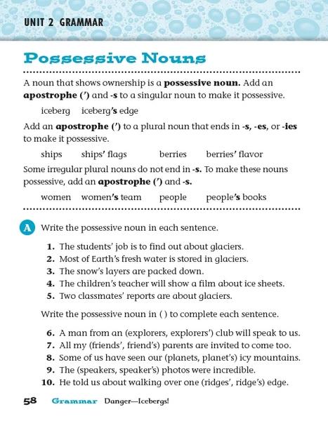 Unit 2 Grammar - Possessive Nouns Worksheet For 3rd Grade Lesson Planet