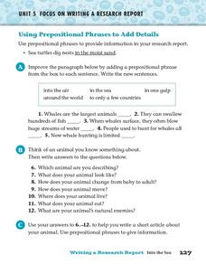 Using Prepositional Phrases to Add Detail Worksheet
