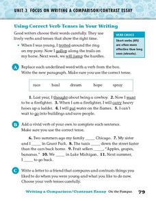 Using Correct Verb Tenses in Your Writing Worksheet