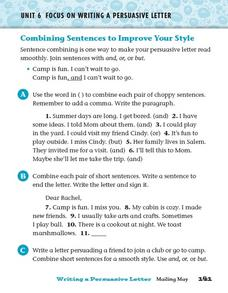 Combining Sentences to Improve Your Style Worksheet