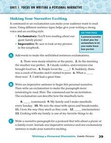 Making Your Narrative Exciting Worksheet