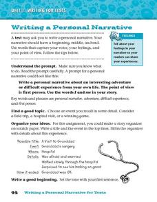 Writing a Personal Narrative For Tests Worksheet