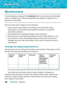 Writer's Guide - Sentences Worksheet