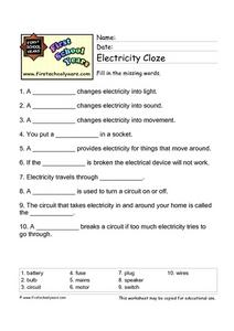 Electricity Cloze Worksheet