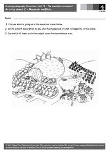Learning Geography - The Mountain Environment Worksheet