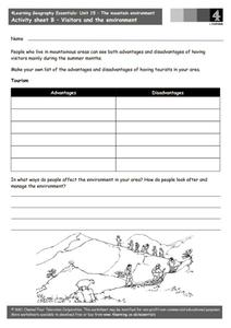 The Mountain Environment - Visitors and the Environment Worksheet