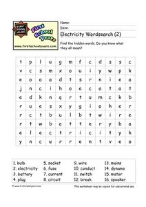 Electricity Word Search (2) Worksheet