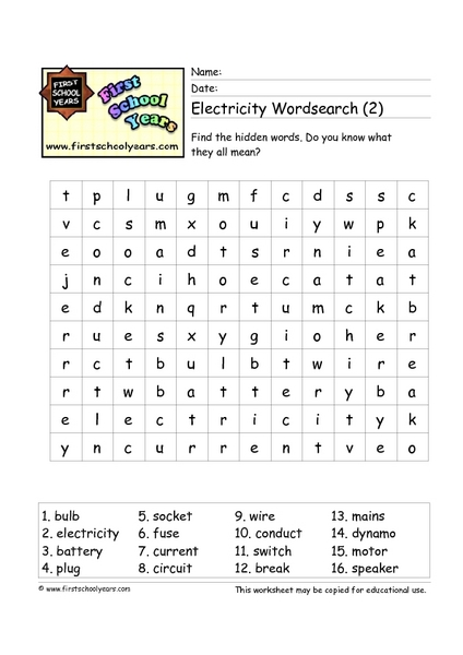 Electricity Word Search 2 Worksheet For 3rd 4th Grade Lesson Planet