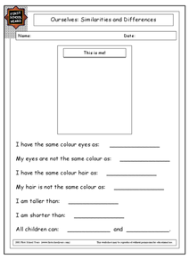Ourselves: Similarities and Differences Worksheet