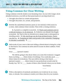 Using Commas for Clear Writing Worksheet