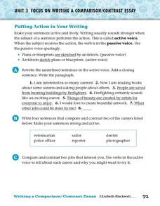 Putting Action in Your Writing Worksheet