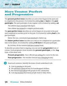 More Tenses: Perfect and Progressive Worksheet