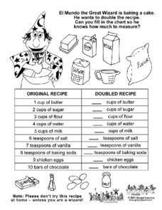 Doubling a Recipe Worksheet