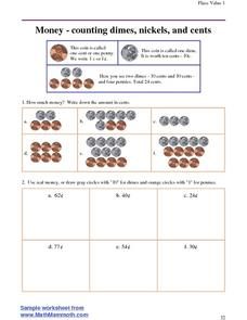 Money - counting dimes, nickels, and cents Worksheet